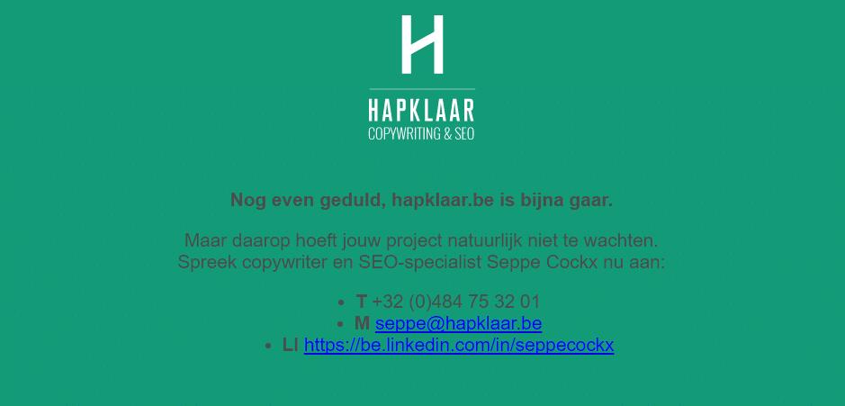 Hapklaar.be under construction